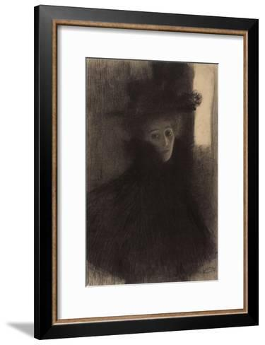 Portrait of a Lady with Cape and Hat-Gustav Klimt-Framed Art Print