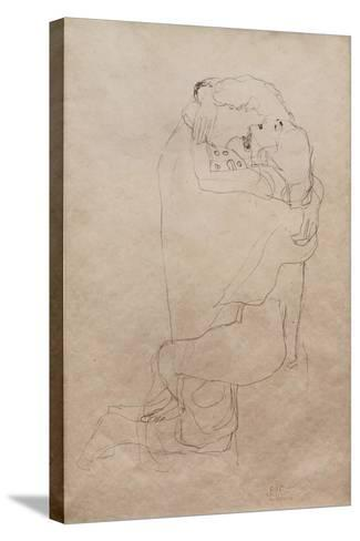 Kneeling Man and Seated Woman Embracing-Gustav Klimt-Stretched Canvas Print