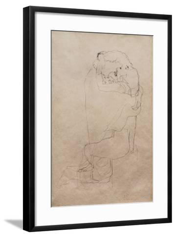 Kneeling Man and Seated Woman Embracing-Gustav Klimt-Framed Art Print