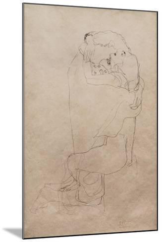 Kneeling Man and Seated Woman Embracing-Gustav Klimt-Mounted Giclee Print