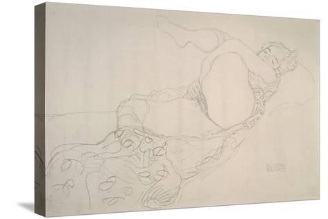 Reclining Nude with Leg Raised-Gustav Klimt-Stretched Canvas Print