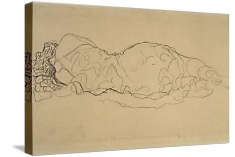 Reclining Woman, Seen from Behind-Gustav Klimt-Stretched Canvas Print