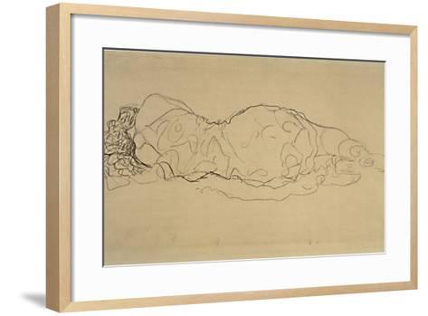 Reclining Woman, Seen from Behind-Gustav Klimt-Framed Art Print