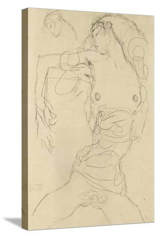 Female Nude with Bent Arm-Gustav Klimt-Stretched Canvas Print