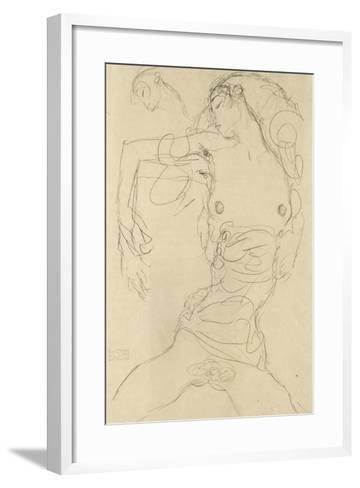Female Nude with Bent Arm-Gustav Klimt-Framed Art Print