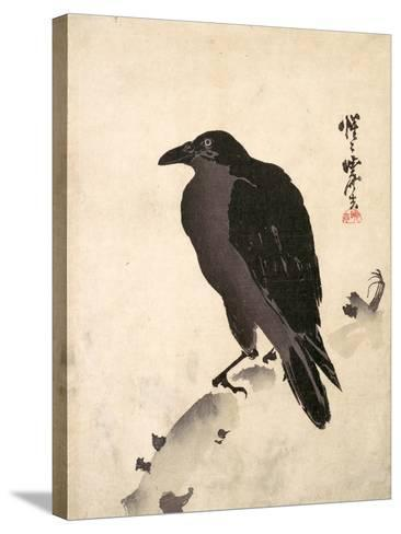 Crow Resting on Wood Trunk-Kyosai Kawanabe-Stretched Canvas Print
