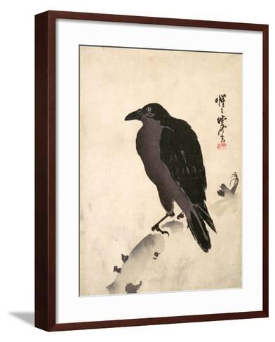 Crow Resting on Wood Trunk-Kyosai Kawanabe-Framed Art Print