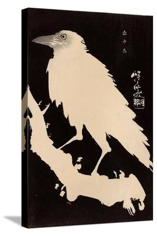 Crow in the Snow-Kyosai Kawanabe-Stretched Canvas Print