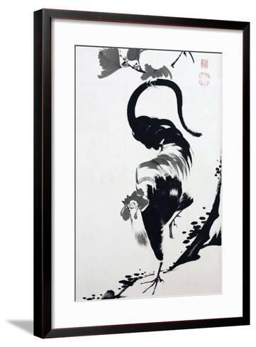 A Rooster Sumi on Paper-Jakuchu Ito-Framed Art Print