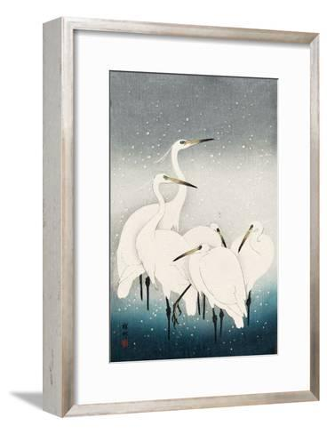Five White Herons Standing in Water; Snow Falling-Koson Ohara-Framed Art Print