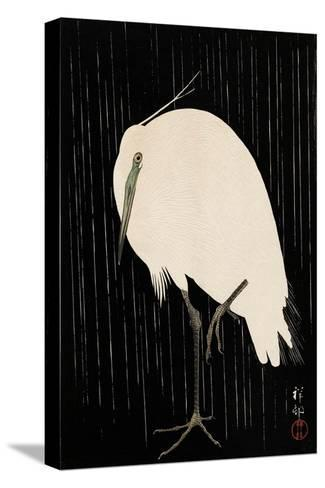 White Heron Standing in the Rain-Koson Ohara-Stretched Canvas Print