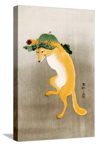 Dancing Fox with Lotus-Leaf Hat-Koson Ohara-Stretched Canvas Print