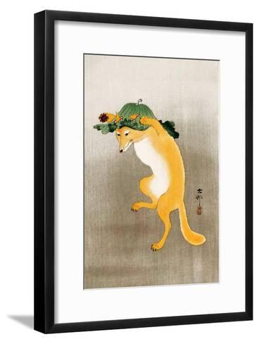 Dancing Fox with Lotus-Leaf Hat-Koson Ohara-Framed Art Print