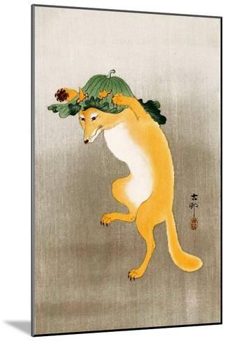 Dancing Fox with Lotus-Leaf Hat-Koson Ohara-Mounted Giclee Print