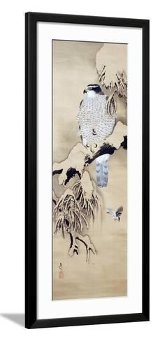Hawk on Snowy Branch-Zeshin Shibata-Framed Art Print