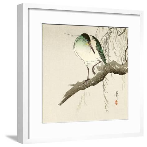 Green Heron on Branch-Koson Ohara-Framed Art Print