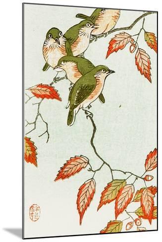 Five Small Birds Perch on a Acorn Tree-Koson Ohara-Mounted Giclee Print