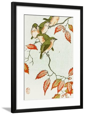 Five Small Birds Perch on a Acorn Tree-Koson Ohara-Framed Art Print