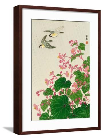 Two Birds and Begonia in Rain-Koson Ohara-Framed Art Print