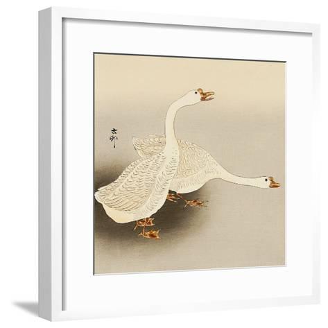 Two White Geese-Koson Ohara-Framed Art Print