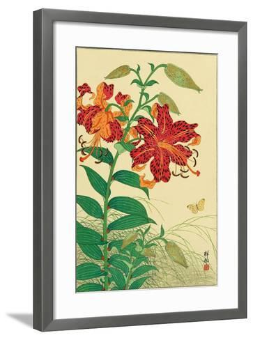 Tiger Lilies and Butterfly-Koson Ohara-Framed Art Print