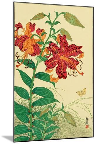 Tiger Lilies and Butterfly-Koson Ohara-Mounted Giclee Print