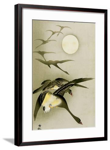 Geese and the Moon-Koson Ohara-Framed Art Print