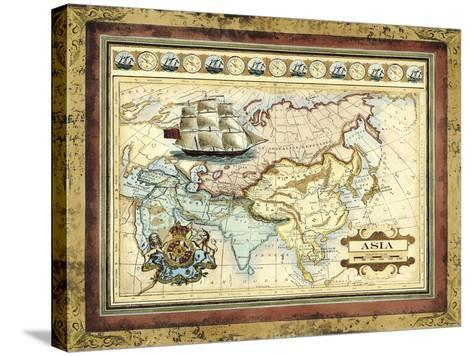 Map of Asia-Vision Studio-Stretched Canvas Print