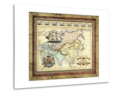 Map of Asia-Vision Studio-Metal Print