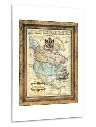 Map of North America-Vision Studio-Metal Print