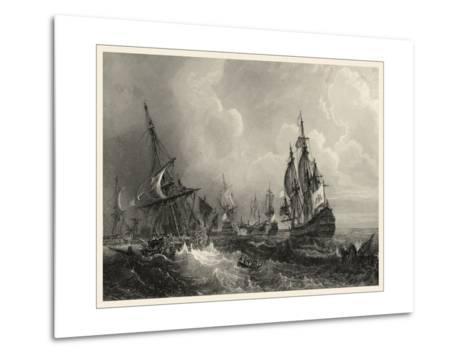 Small Ships at Sea II--Metal Print