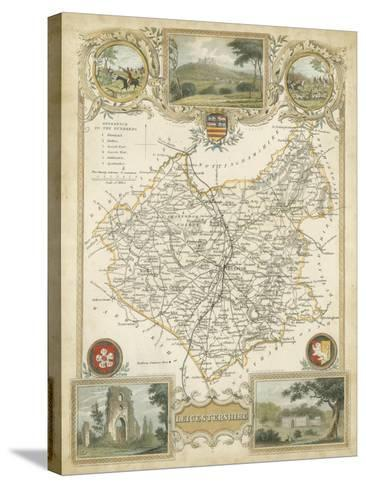 Map of Leicestershire--Stretched Canvas Print