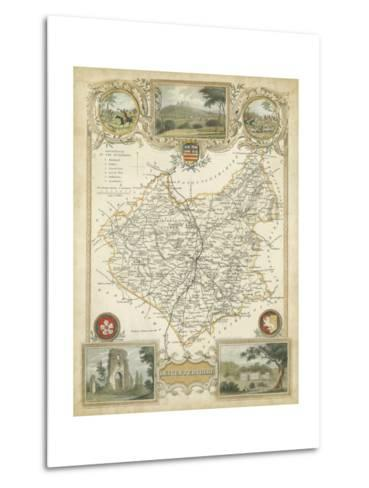 Map of Leicestershire--Metal Print