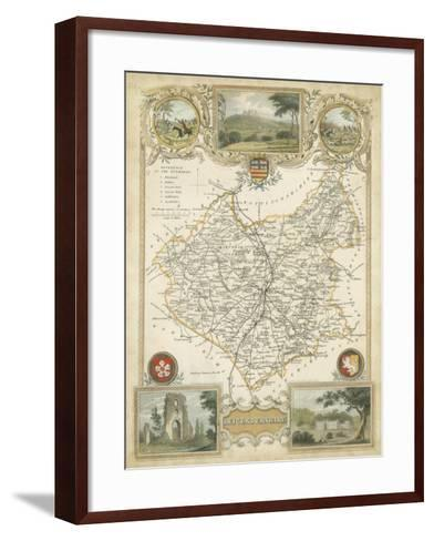 Map of Leicestershire--Framed Art Print
