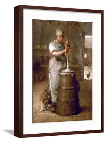 Churning Butter, 1866-1868-Jean-Fran?ois Millet-Framed Art Print