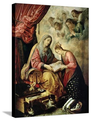 Santa Ana Enseñando a Leer a La Virgen-Juan De Las Roelas-Stretched Canvas Print