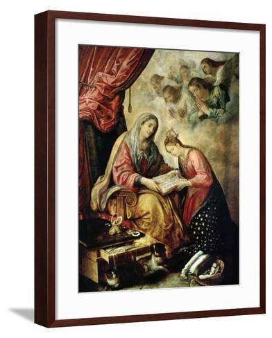 Santa Ana Enseñando a Leer a La Virgen-Juan De Las Roelas-Framed Art Print