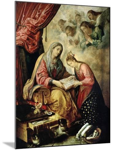 Santa Ana Enseñando a Leer a La Virgen-Juan De Las Roelas-Mounted Giclee Print