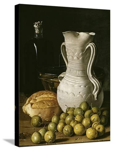 Still Life with Small Pears, Bread, White Pitcher, Glass Bottle, and Earthenware Bowl, 1760-Luis Egidio Mel?ndez-Stretched Canvas Print