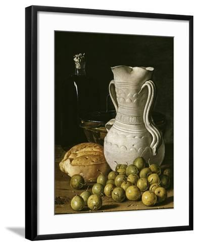Still Life with Small Pears, Bread, White Pitcher, Glass Bottle, and Earthenware Bowl, 1760-Luis Egidio Mel?ndez-Framed Art Print