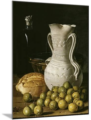 Still Life with Small Pears, Bread, White Pitcher, Glass Bottle, and Earthenware Bowl, 1760-Luis Egidio Mel?ndez-Mounted Giclee Print