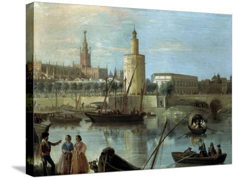 La Torre Del Oro Y La Catedral Desde Los Remedios-Manuel Barron y Carrillo-Stretched Canvas Print