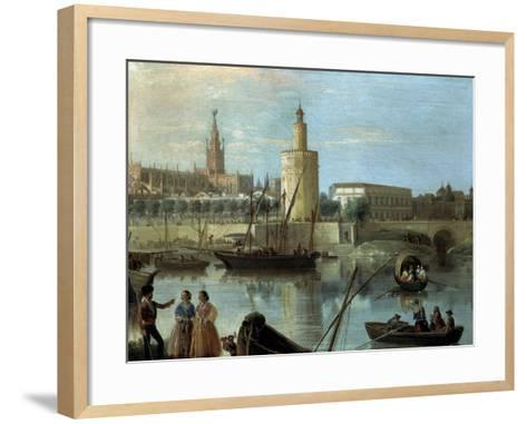 La Torre Del Oro Y La Catedral Desde Los Remedios-Manuel Barron y Carrillo-Framed Art Print