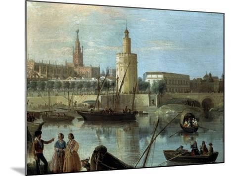 La Torre Del Oro Y La Catedral Desde Los Remedios-Manuel Barron y Carrillo-Mounted Giclee Print