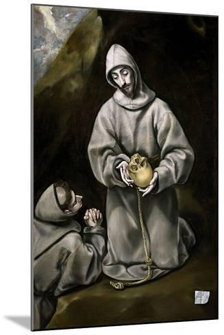 Saint Francis of Assisi and Brother Leo Meditating on Death, 1600-14-El Greco-Mounted Giclee Print