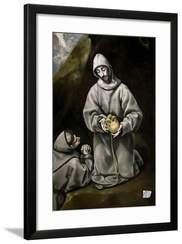 Saint Francis of Assisi and Brother Leo Meditating on Death, 1600-14-El Greco-Framed Art Print