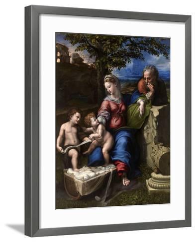 The Holy Family with an Oak Tree, 1518-1520-Raphael-Framed Art Print