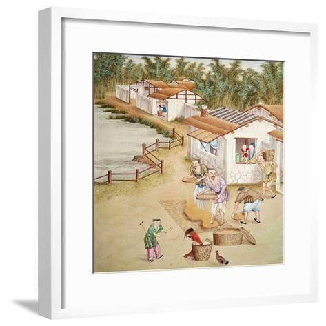 Chinese Farmers Sieving Rice--Framed Art Print