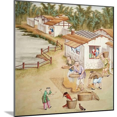 Chinese Farmers Sieving Rice--Mounted Giclee Print