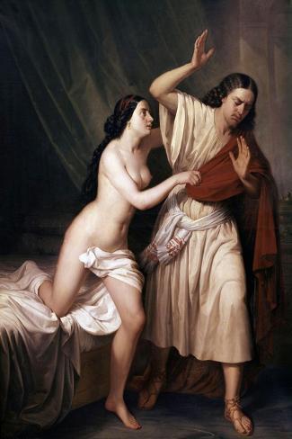 Joseph and Potiphars Wife, 1854-Antonio Maria Esquivel-Stretched Canvas Print